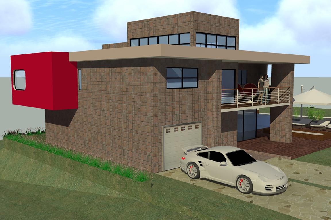 vue exterieur cote garage villa basel