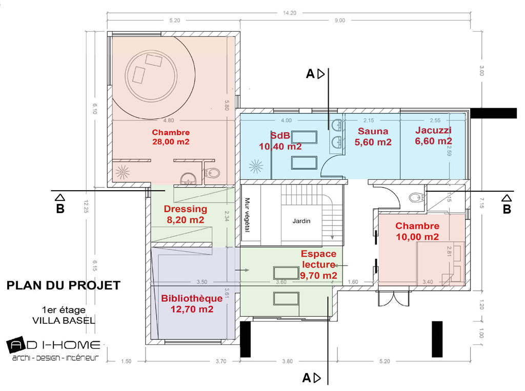 plan etage villa Basel
