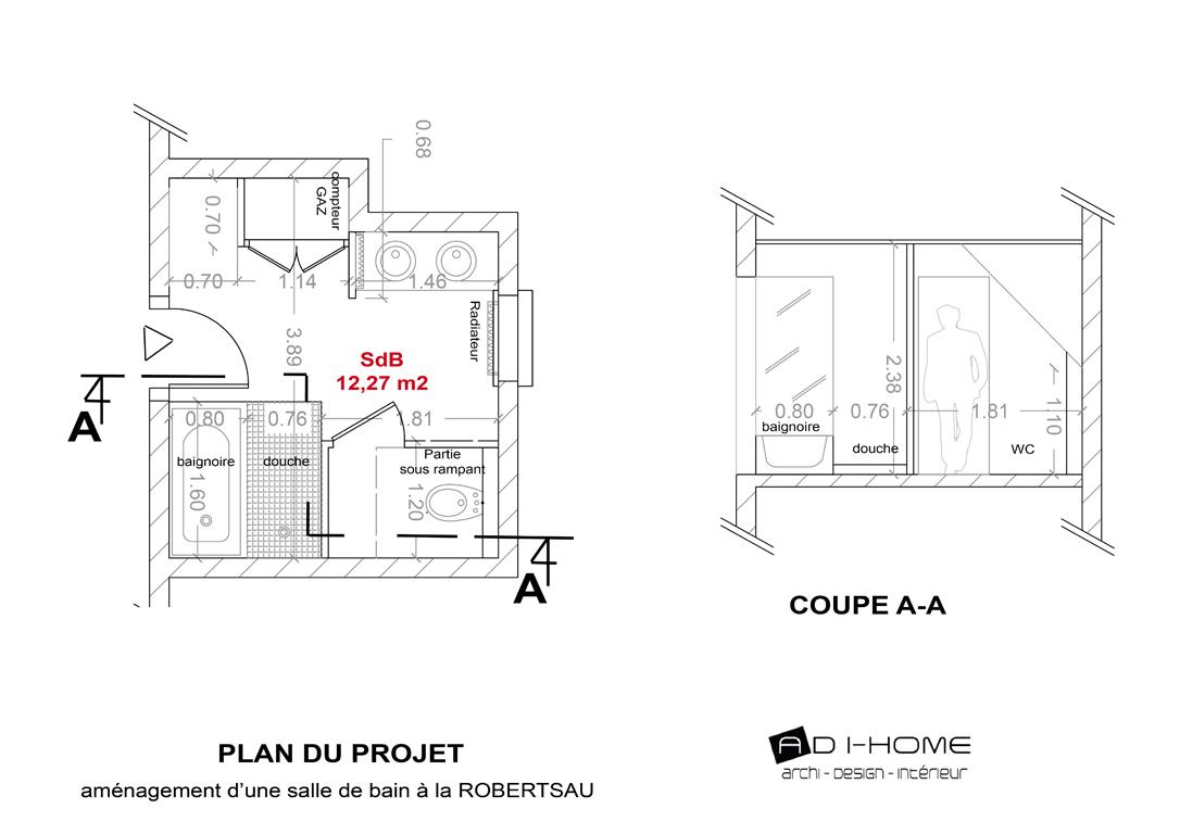 Salle de bain robertsau 2012 adi home - Plan salle de bain douche et baignoire ...